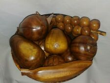 Vtg 10 piece Carved Wooden Fruit bowl Grapes Banana pineapple