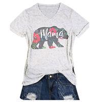 Women Mama Bear Letter Tee Top V-Neck Short Sleeve Blouse T-Shirt Tank Top S-XL