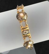 Vintage Spanish Damascene Gold panel Bracelet with faux Pearls