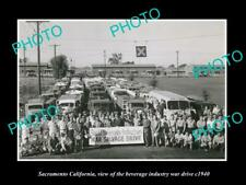 OLD LARGE HISTORIC PHOTO OF SACRAMENTO CALIFORNIA THE BEVERAGE WAR DRIVE c1940