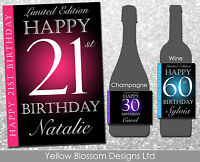 Personalised Wine Champagne Bottle Label Birthday 18th 21st 30th 40th 50th Name