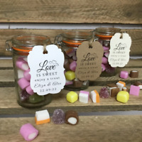 Love is Sweet Personalized Rustic Wedding Favour Labels. Candy Printed Tag