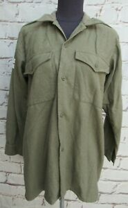 """Vintage British Army Olive Green wool shirt size 1 40/42"""" Chest"""