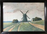 Nordic Landscape With Windmill - Schmidt Sign Black Picture Frame Antique