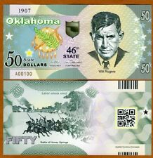 USA States, Oklahoma, $50 Polymer, ND (2020) > Will Rogers, Battle Honey Springs