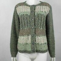 Dressbarn Women's Button Cardigan Size M Green Brown Tan Stripes Career Casual