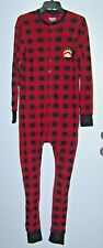 Lazy One Adult Bear Cheeks Flap Jack Red & Black All In One Pajama's Size Medium