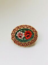 Gold Tone Micro Mosaic Flowers Oval Brooch *3