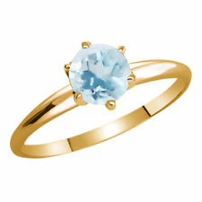 Topaz Solitaire Yellow Gold 0.50 - 0.74 Fine Gemstone Rings