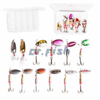 DR.Fish Lot 12 Fishing Spinner Crankbait Lures Kit Rooster Tail Spoon Bass