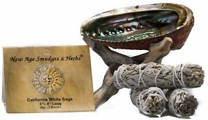 Complete Smudging Kit Abalone Shell 3 White Sage Smudge Wands Wooden Cobra Stand