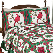 Festive Holiday Christmas Cardinal Poinsettia Quilted Pillow Sham