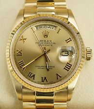 Rolex Men's President Day-Date 18038 18k Yellow Gold Fluted Champagne Roman Dial