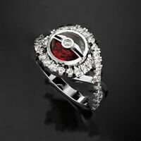 Unique Pokemon White Sapphire Ruby Ring 925 Silver Wedding Party Jewelry Gifts