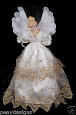 "Fiber Optic Christmas Angel 16"" Tree Topper Color Changing White & Gold Gown"