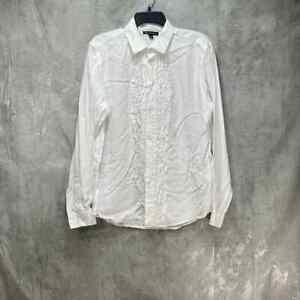 INC International Concepts White Ruffled Detail Point Collar Tuxedo Shirt SZ M