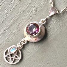 925 Sterling Silver Mystic Topaz & Rainbow Moonstone Pentagram Pendant Pagan