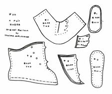 FOUR  DOLL SHOE PATTERNS VARIOUS SIZES 2S