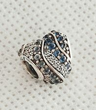 Sterling Silver Pandora Sparkling Blue and White Heart Charm