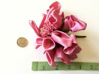 Vintage Rose Dolls Hats Flowers Doll Pink Ribbon Satin Millinery Hat