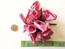 Vintage Rose Dolls Hats Flowers Doll Pink Ribbon Satin Millinery Hat