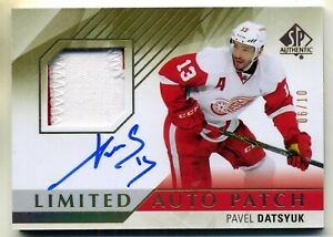 PAVEL DATSYUK 2015-16 SP AUTHENTIC LIMITED AUTO 3 COLOR PATCH 06/10 MADE RARE