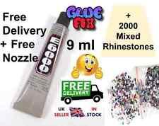 E6000 0.3oz (9ml) Glue  FREE POST FREE NOZZLE + 2000! Mixed Rhinestone Gems