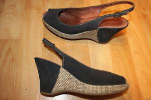 TAMARIS Plateau Keil High Heel Peep Toe Sling Wedges Vintage Sammler getragen 41