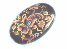 one black oval Japanese tensha beads with antique pattern -  20 x 31mm