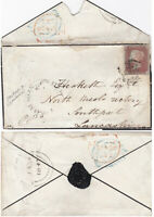 1847 QV SOUTHAMPTON MOURNING COVER WITH A 1d PENNY RED STAMP SHIRLEY COMMON UDC