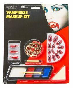 Vampiress Makeup Kit w/ Necklace & Fake Nails Halloween Costume Accessories NIP