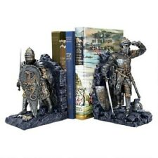 Metallic Two Tone Knights in Full Armor Ready for Battle Book End Set