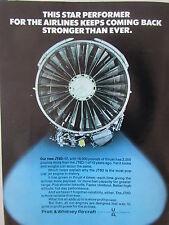 7/1973 PUB PRATT & WHITNEY JT8D-17 ENGINES MOTEUR AVIATION ORIGINAL AD