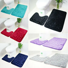 2PCs Pebbles Bath Mat Pedestal Mat Memory Foam Set Non Slip Soft Bathroom Toilet