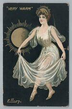 """Very Warm"" Transparent Dress Woman—Sun Burst—Antique ELLAM Artist-Signed 1910s"