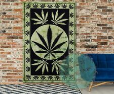 Marijuana Leaf Tapestry Bohemian Twin Cannabis Wall Hanging Home Decor Textile