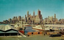 Vintage Postcard Of Ships By The New York City, New York Skyline Long Ago *