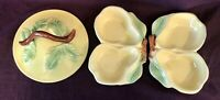 Vintage 1940's Belmar of California USA Pottery #320 2 Yellow Pear Dishes & Lid