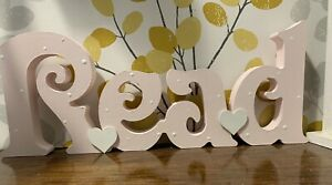 Freestanding Wooden Read Word Sign Hand Painted Library Corner Decor Gift 12cm