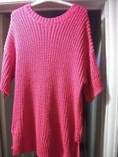'H&M' Bright Red Heavy Loose Knit, Long Jumper, Short Raglan Sleeves, Sm/UK 8-10
