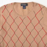 Brooks Brothers Cashmere Scoop Crew Neck Sweater Diamond Beige Womens Large