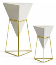 Umbra Trigg Ceramic/Wire Frame Set of 2 Vases (White) 1004372-524