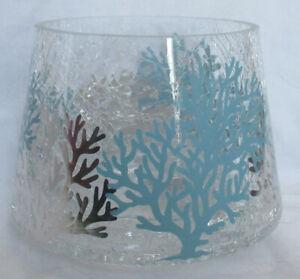Yankee Candle Clear Jar Shade J/S COASTAL CRACKLE Blue Silver Coral Beach-Vibe