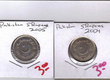 From Show Inv. - 2 UNCIRCULATED 5 RUPEE COINS from PAKISTAN (2004 & 2005)
