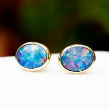 Amazing colorful 100% Australia Doublet Opal 9K Gold Earring/stud 6.6cts 103