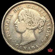 1886 Canada 10 Cents Small 6 OBV5 - F/VF - Cleaned • Trend 150$ Lot#1557P
