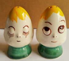 Vintage anthropomorphic egg salt and pepper shakers