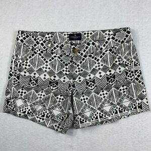 American Eagle Midi Bermuda Shorts Women 10 White Black Geometric Print Casual