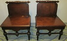 PAIR OF 19thC WALNUT HALL SIDE CHAIRS w/ LIFT TOP / UP SEATS
