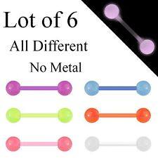 T0012 Lot 6 x Flexi Glow In The Dark Tongue Bars Piercing Flexible Bar Nipple